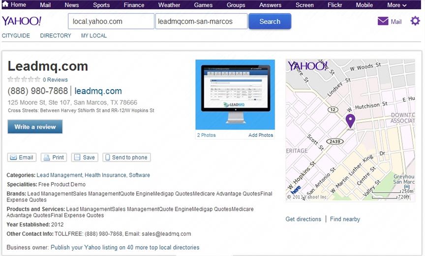 LeadMQ on Yahoo! Local